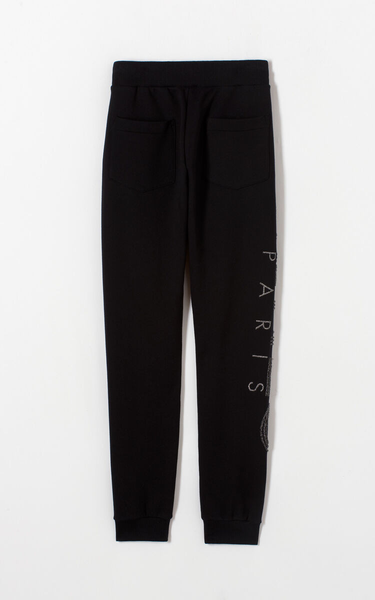 BLACK KENZO Logo glittery jogging trousers for women