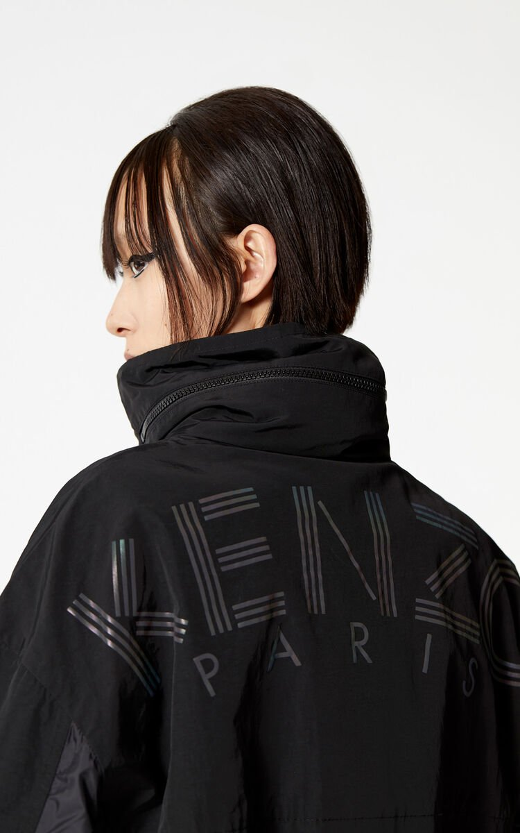 BLACK KENZO Logo dual fabric windbreaker for women