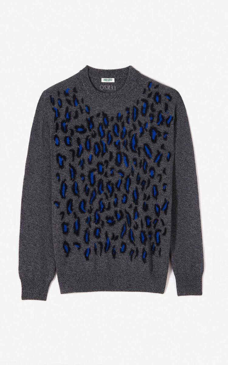 ANTHRACITE Leopard jumper for women KENZO