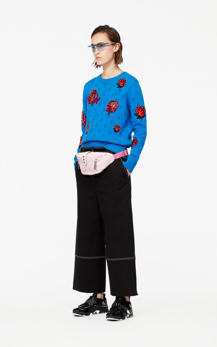 ELECTRIC BLUE Openwork 'Roses' jumper for women KENZO