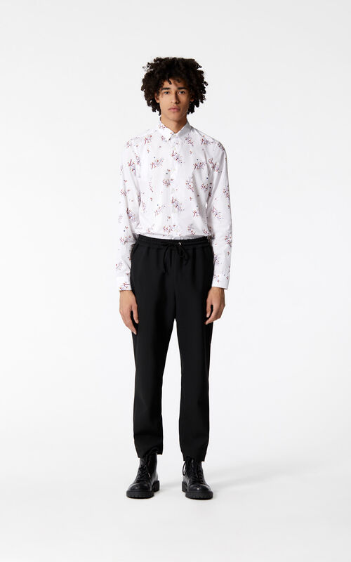 WHITE 'Cheongsam Flower' shirt for men KENZO