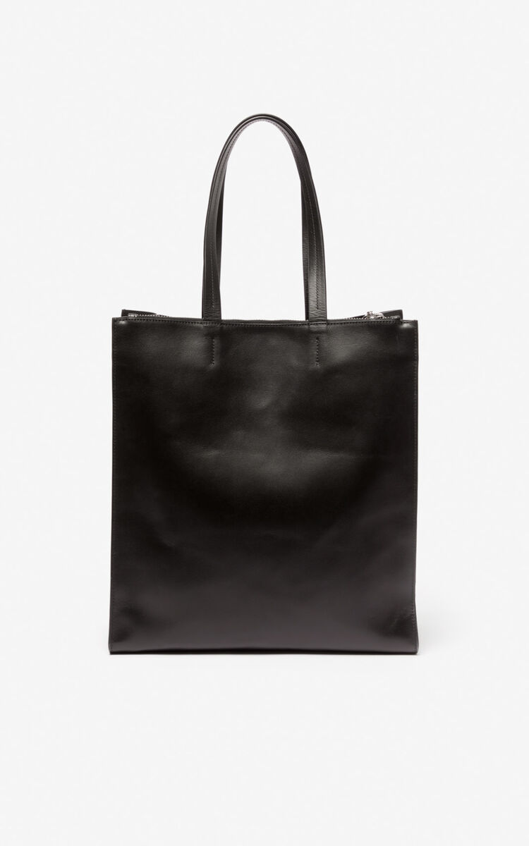BLACK KENZO logo tote bag for women