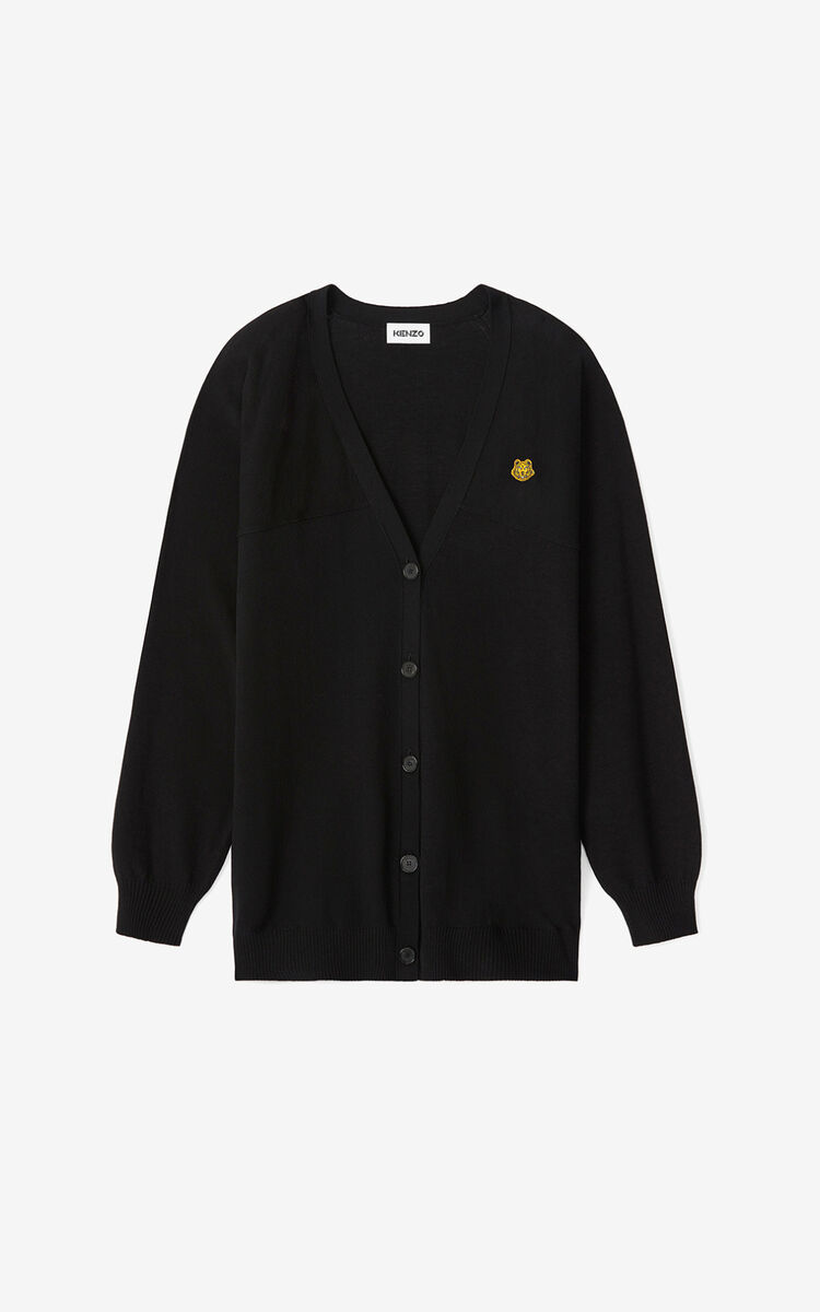 BLACK Tiger Crest oversize cardigan for women KENZO