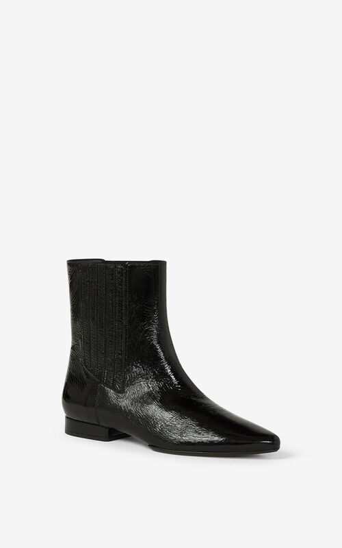 BLACK K-Line Soft leather ankle boots for unisex KENZO