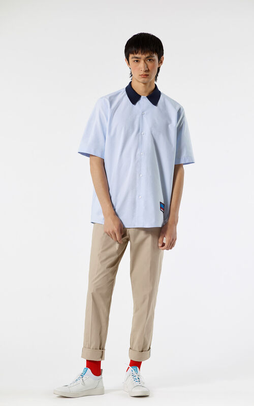 LIGHT BLUE 'Bowling Knit' shirt for men KENZO