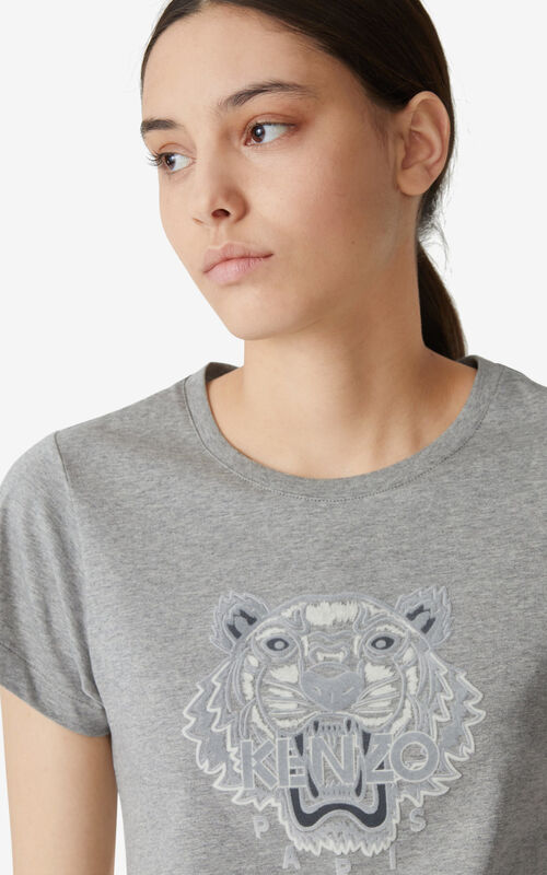 PEARL GREY Tiger Flock slim-fit T-shirt for women KENZO