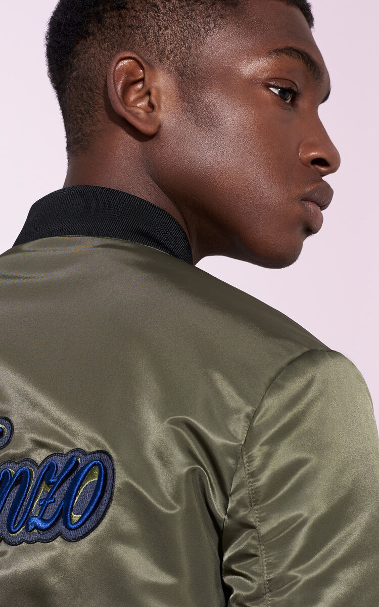 DARK KHAKI KENZO 'Lyrics' Bomber for men