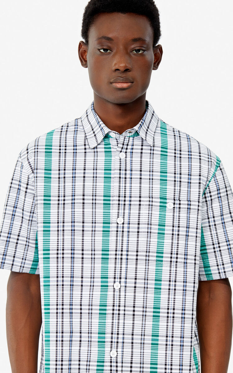 WHITE Checked shirt for men KENZO
