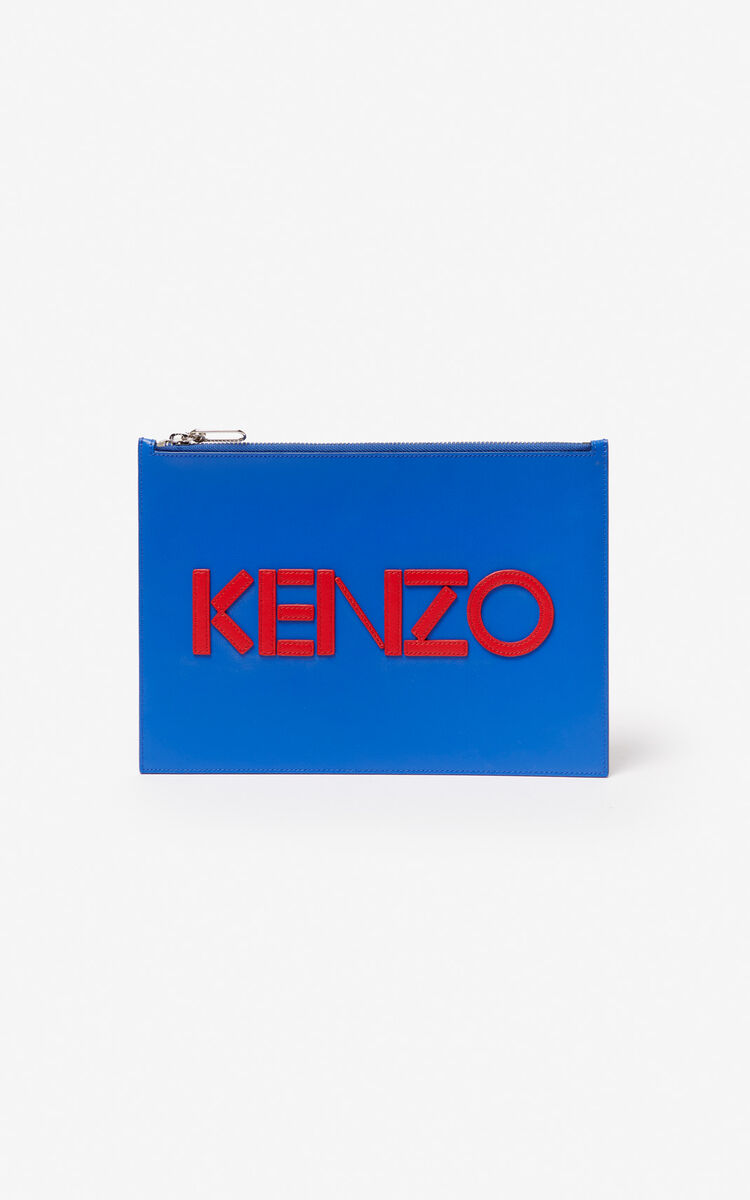 COBALT A4 KENZO Colorblock leather clutch for unisex