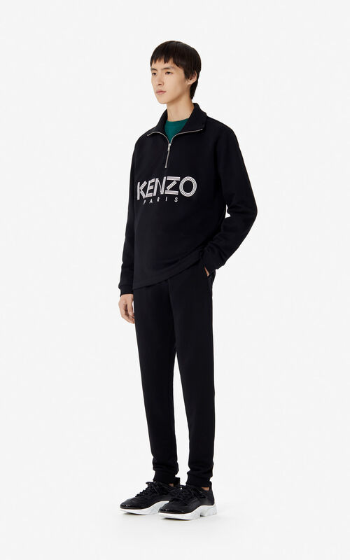 BLACK KENZO Paris zipped sweatshirt for women