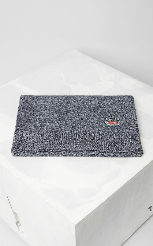 DARK GREY Tiger Crest Wool Scarf for women KENZO