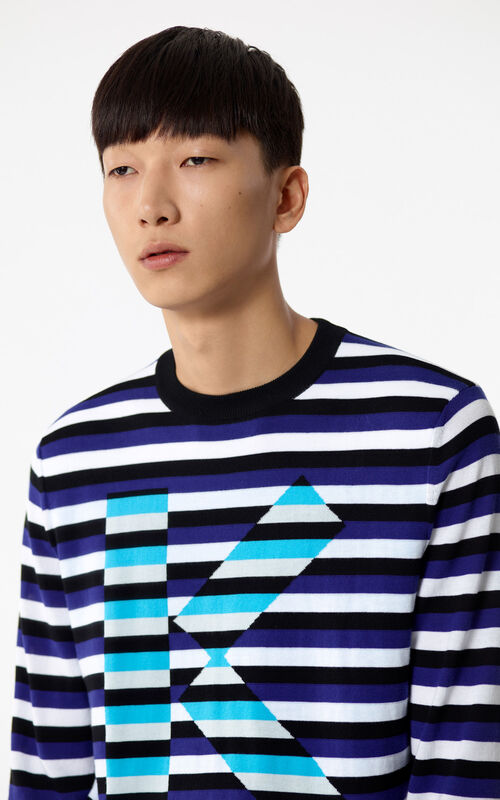 FRENCH BLUE 'K' Striped jumper for men KENZO