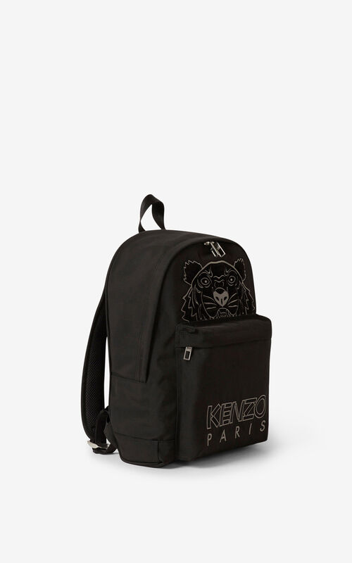 BLACK Kampus Tiger canvas rucksack for men KENZO