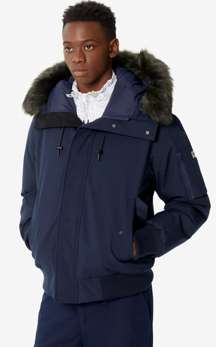 NAVY BLUE Short parka jacket for men KENZO