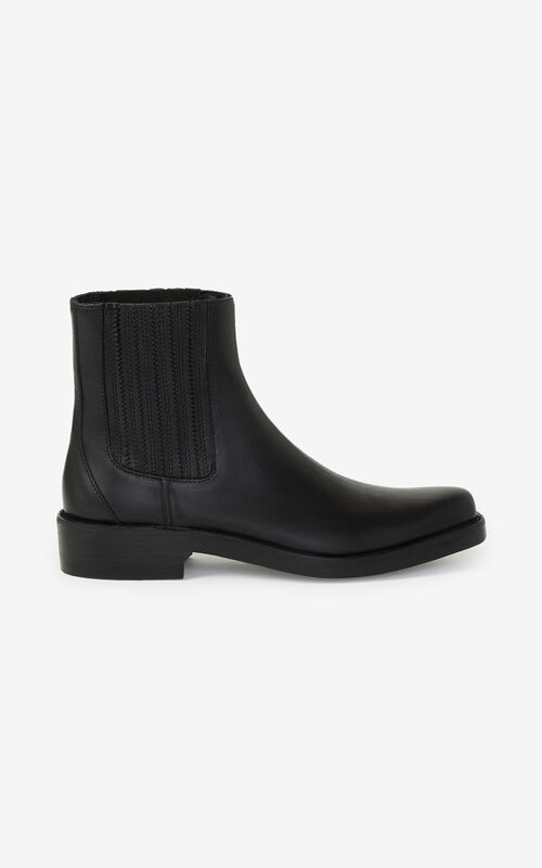 BLACK Kolorado leather Chelsea boots for women KENZO