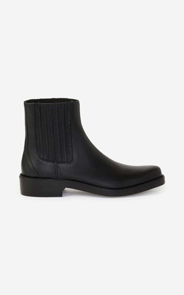 BLACK Kolorado leather Chelsea boots for unisex KENZO