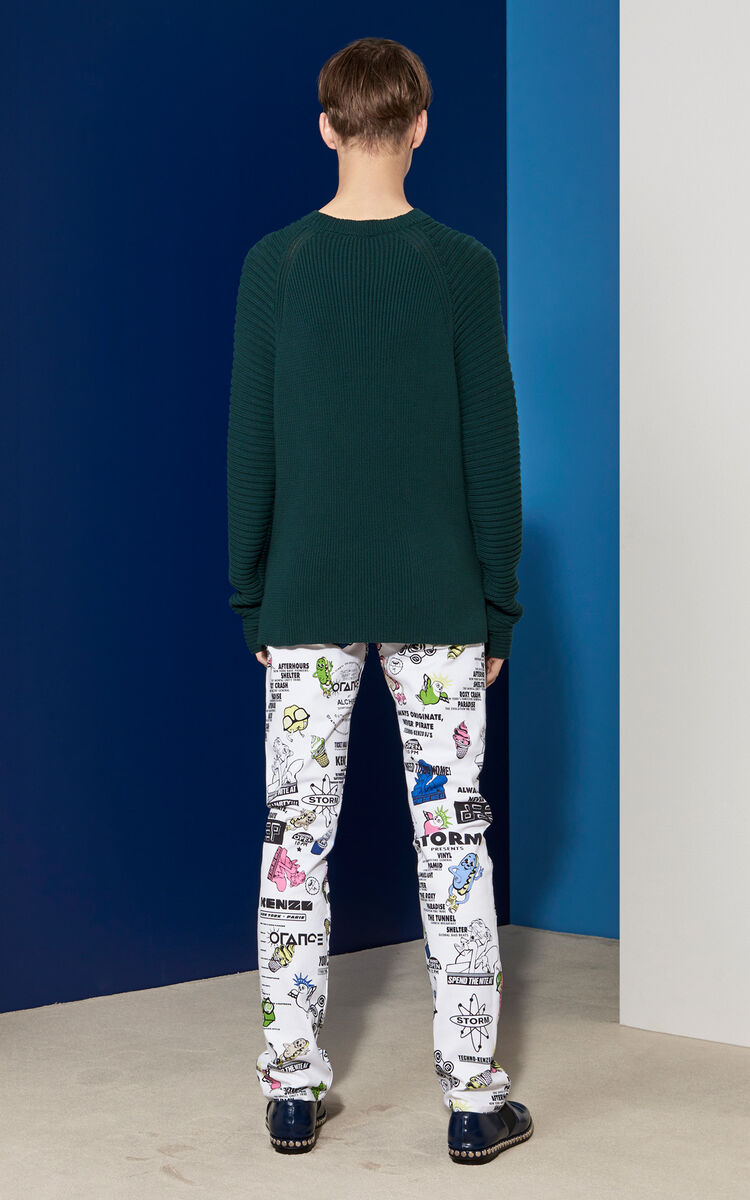 Horizontal Ribbed sweater, BOTTLE GREEN, KENZO