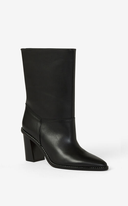 BLACK K-Line heeled leather ankle boots for men KENZO