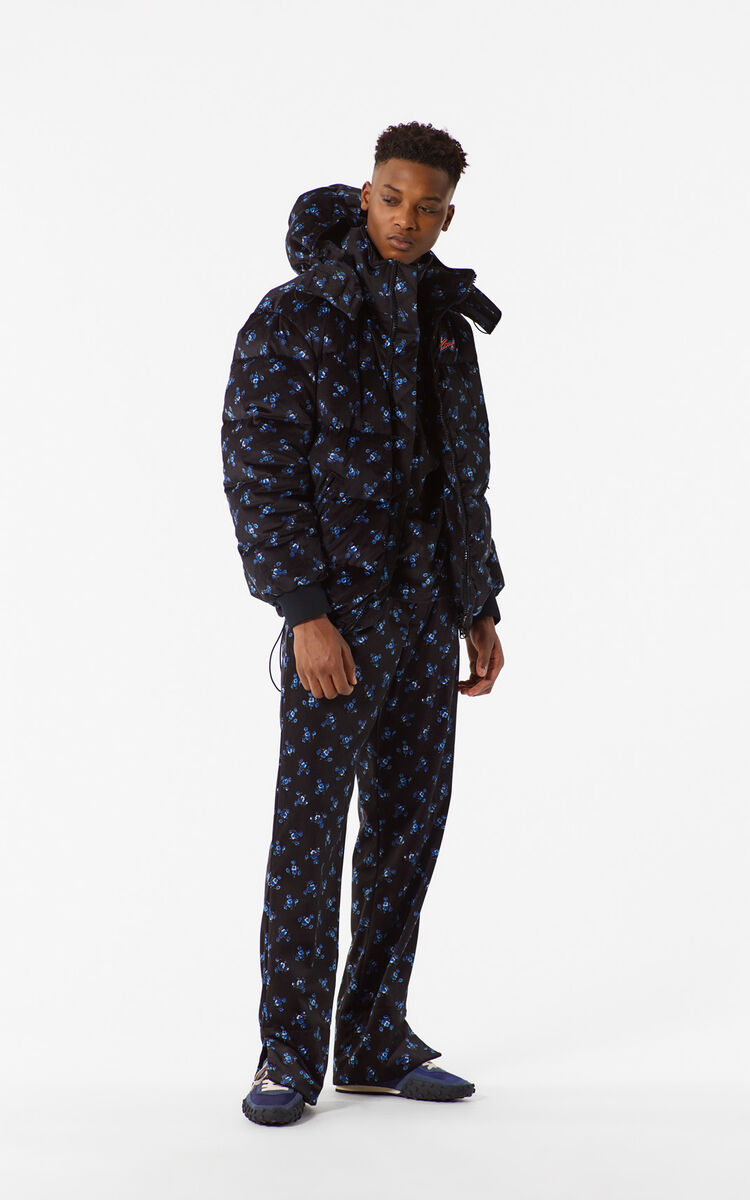 BLACK 'May Flowers' Down Jacket for men KENZO