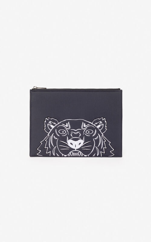 ANTHRACITE A4 Tiger pouch 'Capsule Back from Holidays' for unisex KENZO