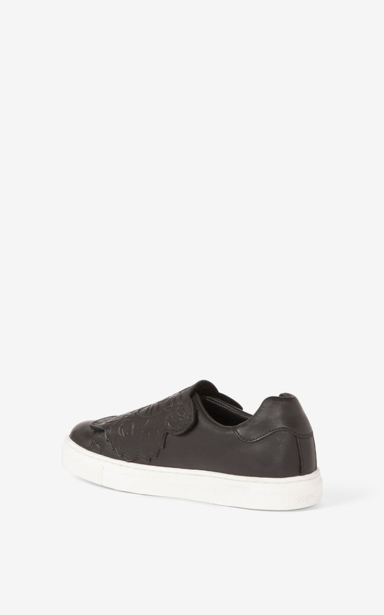BLACK Tiger leather sneakers for men KENZO