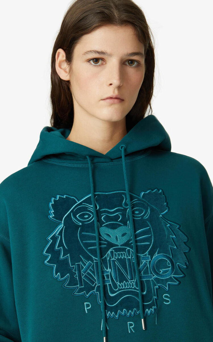 DUCK BLUE Tiger Flock sweatshirt dress for women KENZO