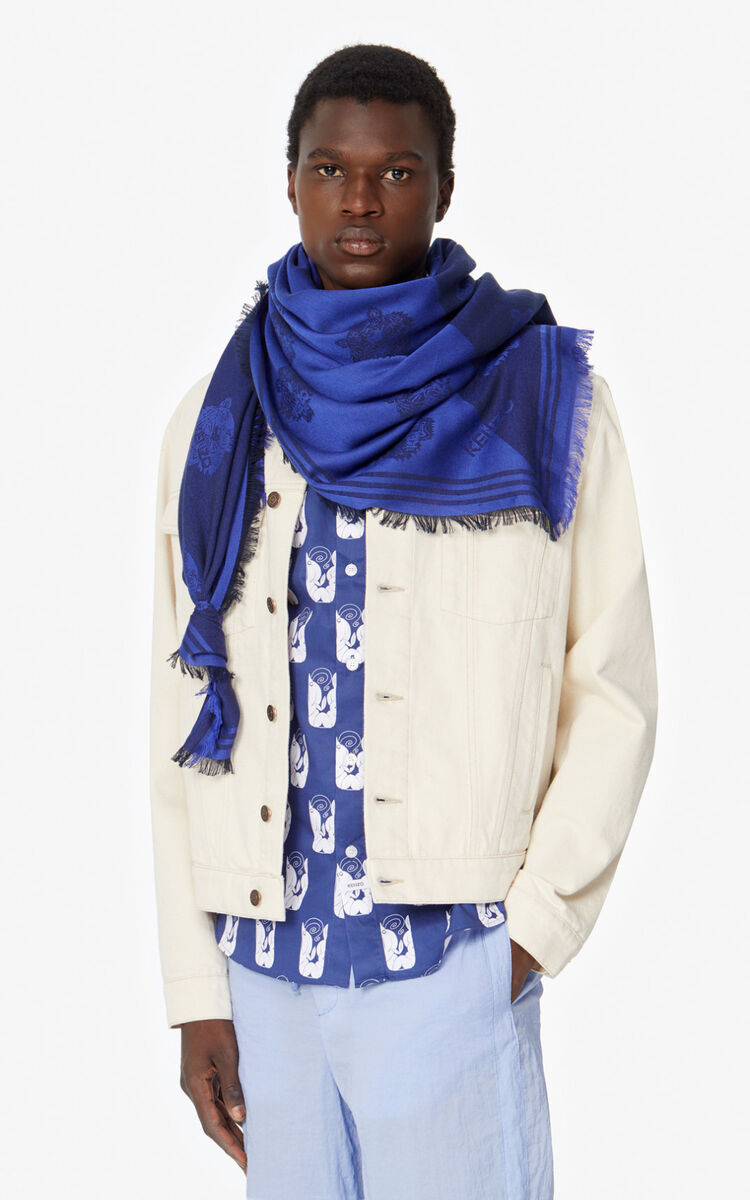 NAVY BLUE Large two-tone Tiger scarf for women KENZO