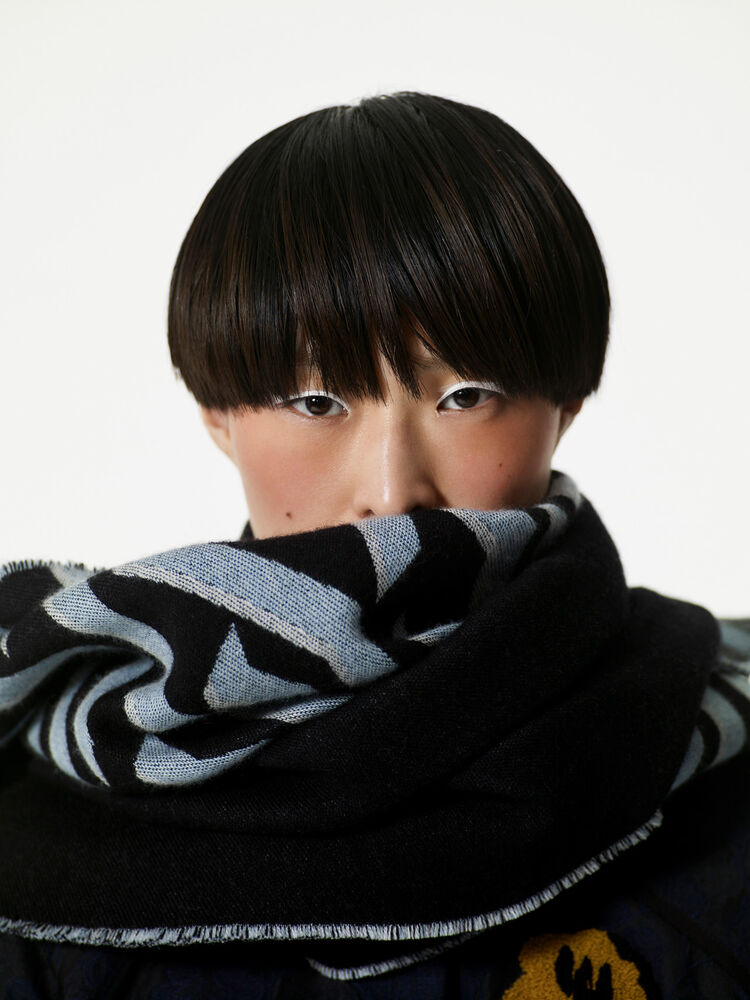 BLACK Geo Tiger Wool Scarf for women KENZO