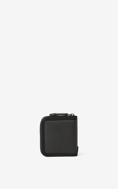 BLACK Courier small zipped leather wallet for unisex KENZO