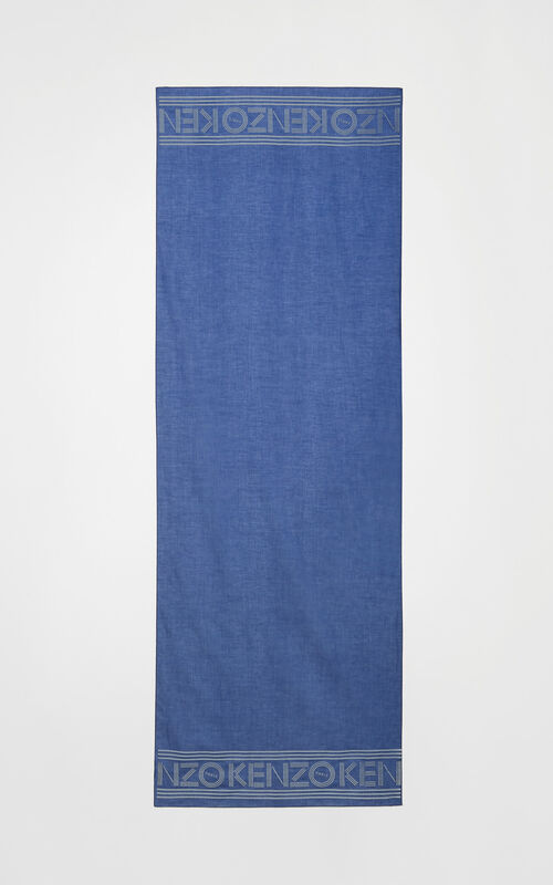 SLATE BLUE KENZO logo cotton scarf for unisex