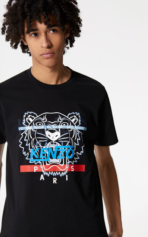 BLACK 'Hyper Tiger' T-shirt for men KENZO
