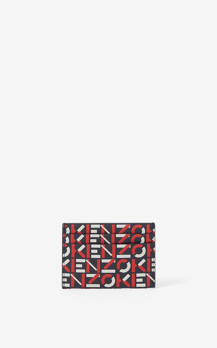 MEDIUM RED Monogram leather card holder for men KENZO