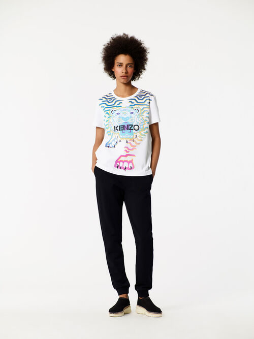 WHITE Geo Tiger x Rainbow' T-shirt for women KENZO