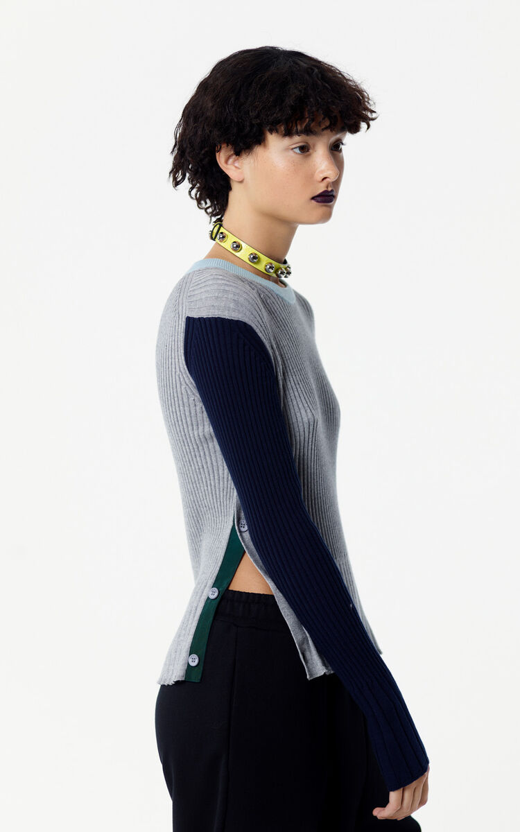 PALE GREY Colour block ribbed jumper for women KENZO