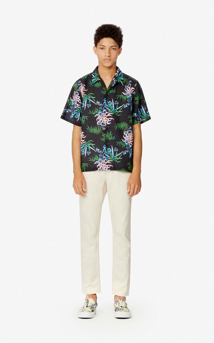 BLACK 'Sea Lily' casual shirt for men KENZO