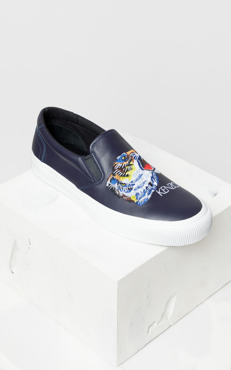 NAVY BLUE 'Tiger Head' Leather Slip-On Trainers 'Go Tigers Capsule' for women KENZO