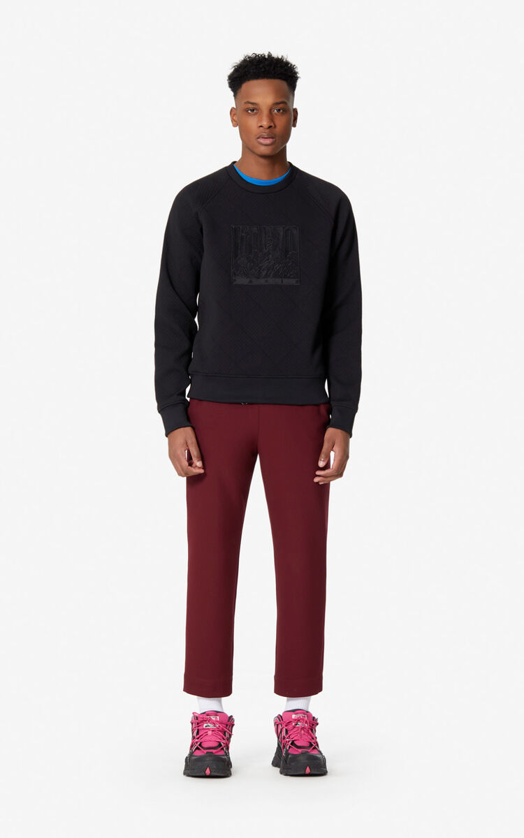 BLACK 'Tiger Mountain' textured sweatshirt for men KENZO