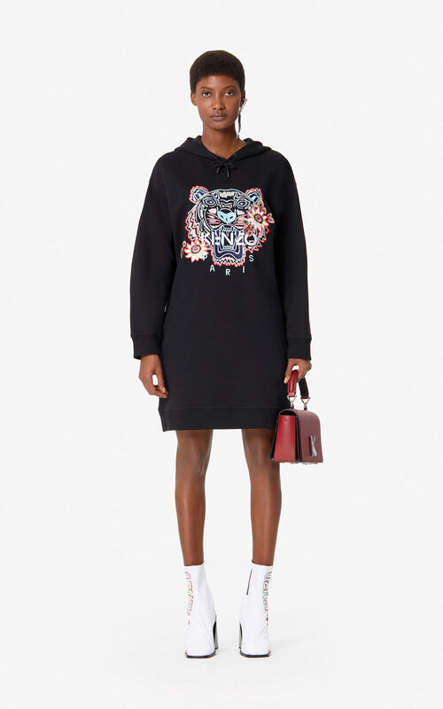 3c310a821 BLACK 'Passion Flower' Tiger sweatshirt dress for women KENZO ...