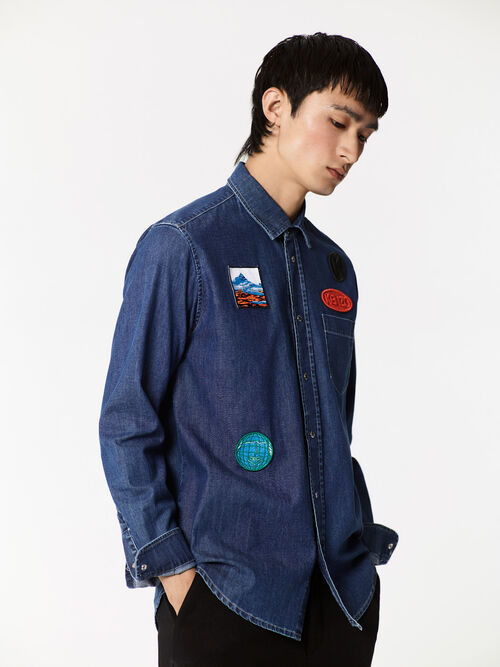 NAVY BLUE Denim shirt with Badges for men KENZO