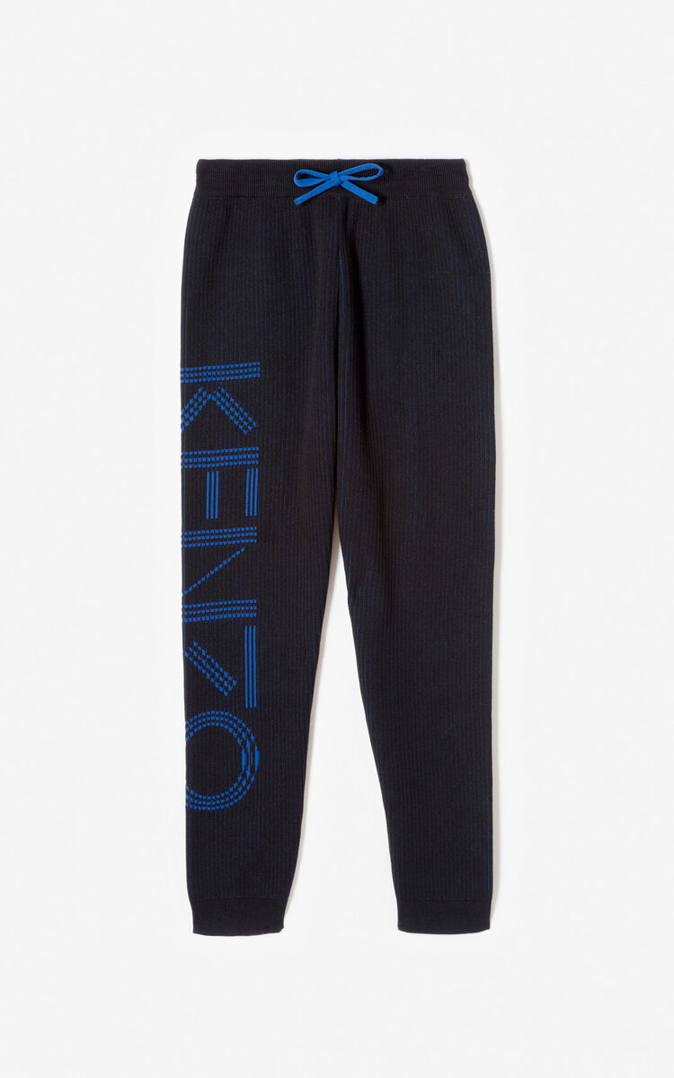 BLACK KENZO Logo knit trousers for men