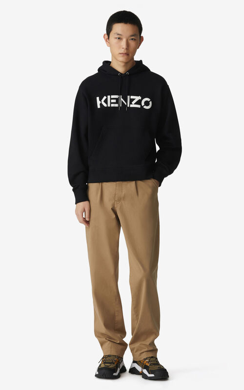 BLACK KENZO Logo hooded sweatshirt for men