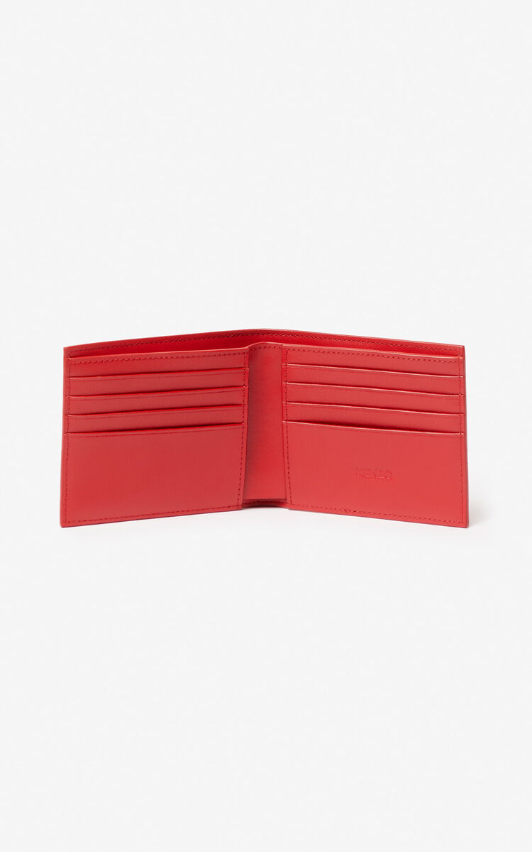 MEDIUM RED 'Square Logo' leather wallet for women KENZO