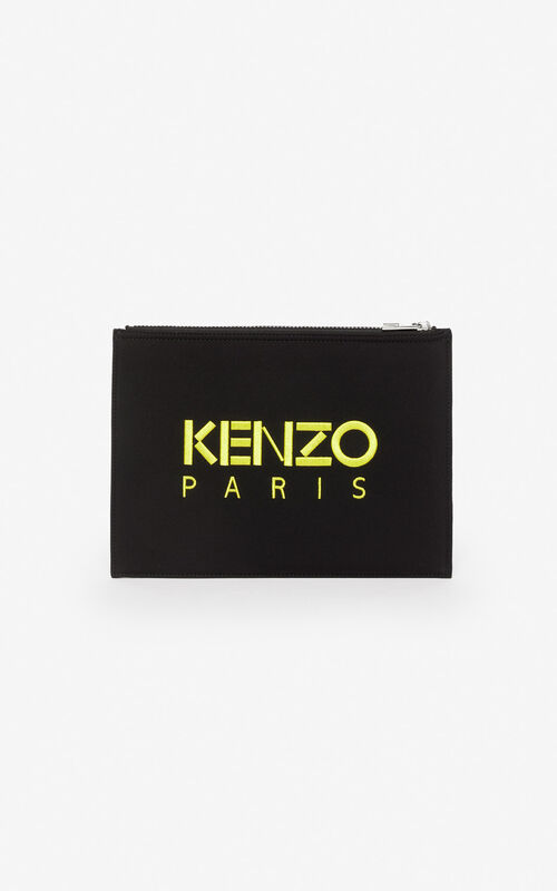 BLACK Tiger clutch in neoprene for unisex KENZO