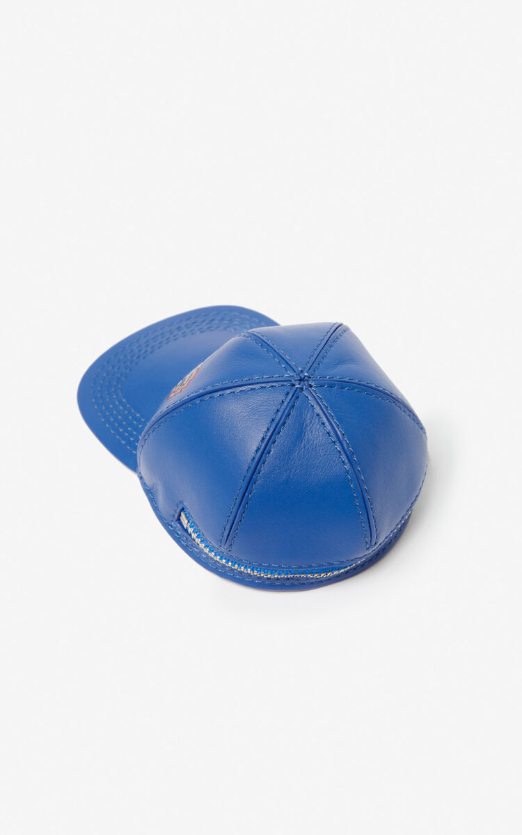 COBALT Tiger cap leather coin purse for unisex KENZO