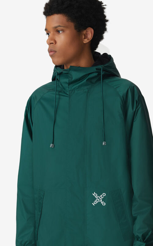 GREEN KENZO Sport 'Little X' parker scooter jacket for men