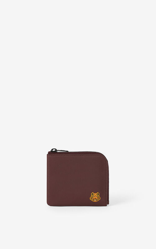 BORDEAUX Tiger Crest small zipped leather wallet  for women KENZO