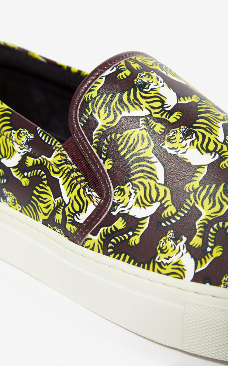 BORDEAUX 'Running Tiger' slip-ons for global.none KENZO