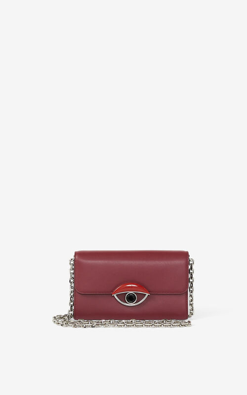 MAGENTA TALI leather wallet with chain for unisex KENZO