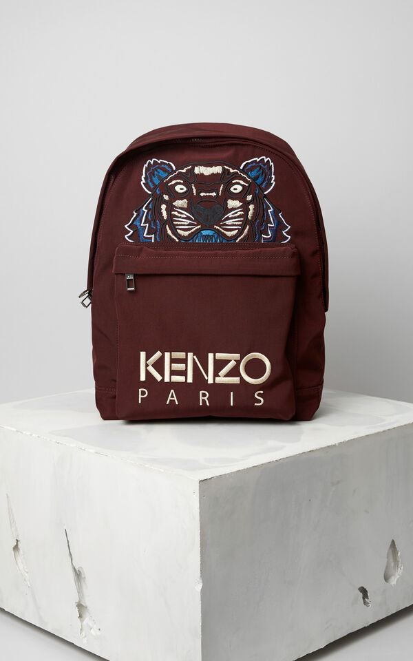 Large Tiger Canvas Backpack, BORDEAUX, KENZO
