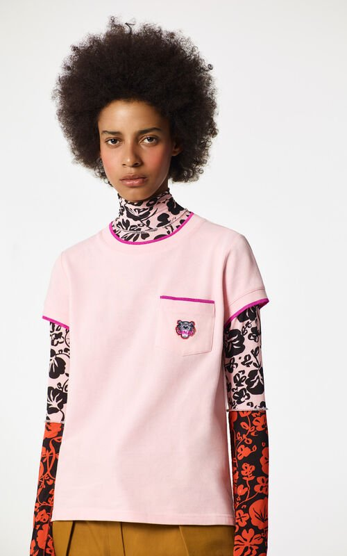 FADED PINK Tiger crest t-shirt for women KENZO